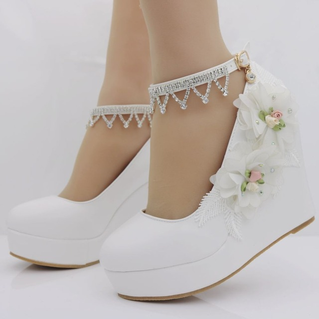 d88839d558 US $24.98 15% OFF|Crystal Queen Women White Wedding Shoes High Heel Wedges  Platform Shoes Pumps Fashion Design Flower Lace Bride Ladies Shoes-in ...