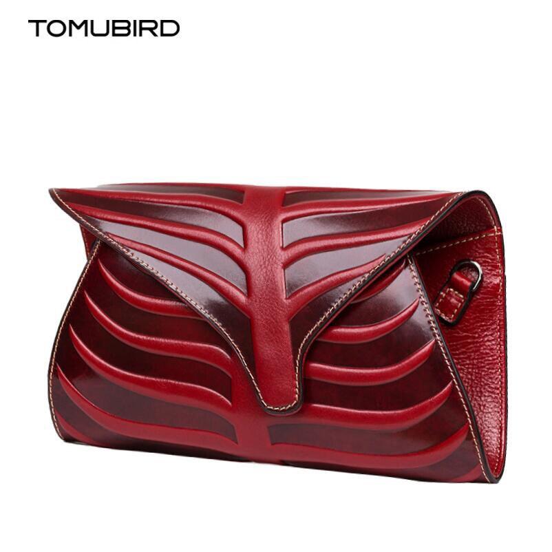 TOMUBIRD superior cowhide leather Leaf Designer Handbags Embossed Leather Clutch font b Bag b font Cross