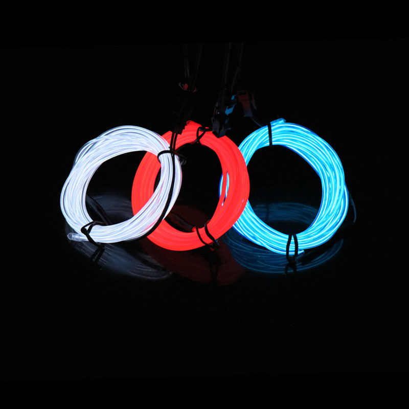 2.3MM Neon Light Dance Party Decor car Lights Neon LED lamp Flexible EL Wire Rope Tube LED Strip Light With 3V/5V/12V Inverter