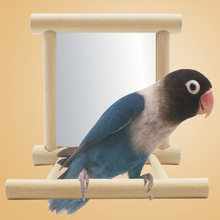 10*10*10cm Funny Wooden Bird Toy Mirror Climb Platform Toys for Parrots Cockatiel Vogel Bird Mirror Cage Stand Bar Accessories(China)