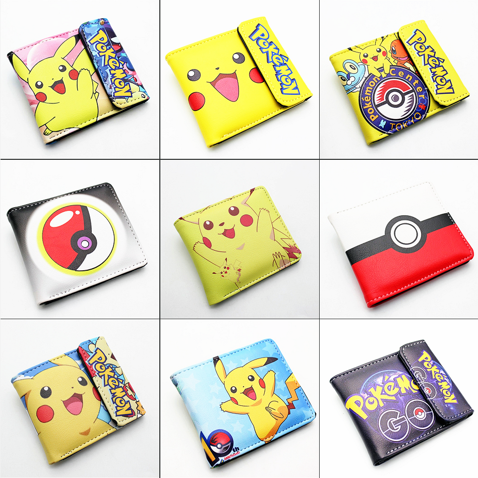 Anime Pokemon Pikachu Pu Short Wallet Student Bifold Card Wallets Boys Girls Men's Holder Layers Leather Cartoon Button Purse
