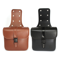 Dongzhen Motorcycle Bag PU Leather Saddle bags Side box bag motorbike luggage Waterproof Storage Tool Black/Brown 2 PC
