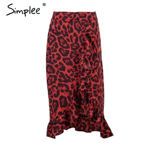 Image 5 - Simplee סקסי נמר midi עיפרון חצאית נשים סתיו גבוהה מותן לפרוע אדום ילדה חצאיות 2018 בציר נשי קוריאני חורף חצאית