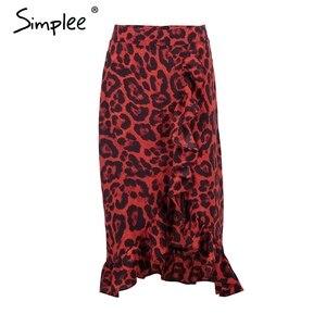 Image 5 - Женская красная леопардовая юбка карандаш Simplee, привлекательная юбка с завышенной талией и рюшами для девочек, винтажная корейская миди юбка для осени и зимы