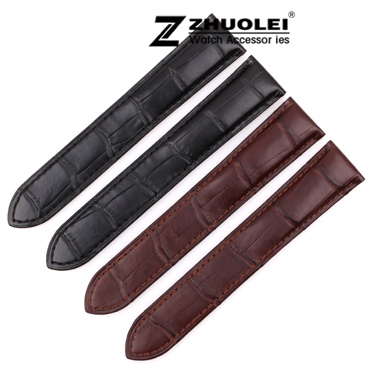 18mm 20mm 22mm 23mm 24mm 25mm 1pcs NEW High quality Black/Brown Genuine Alligator Croco Leather Strap Watch Band For Brand Tank high quality 17mm 19mm 23mm waterproof genuine leather watch strap band for swatch croco pattern black brown white