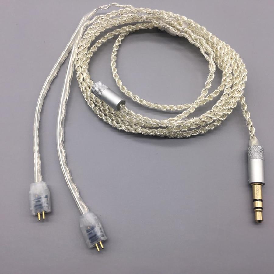 MMCX Cables para Shure SE215 SE535 UE TF10 para Sennheiser IE8 IE80 16 acciones 5N chapados en plata Auriculares auriculares de alta fidelidad los Cables de alambre