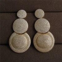 Wuge Schmuck Luxus antiken Zirkonia Micro Pave Einstellung Mode big runden Ohrring für Frauen Afrikanischen stil
