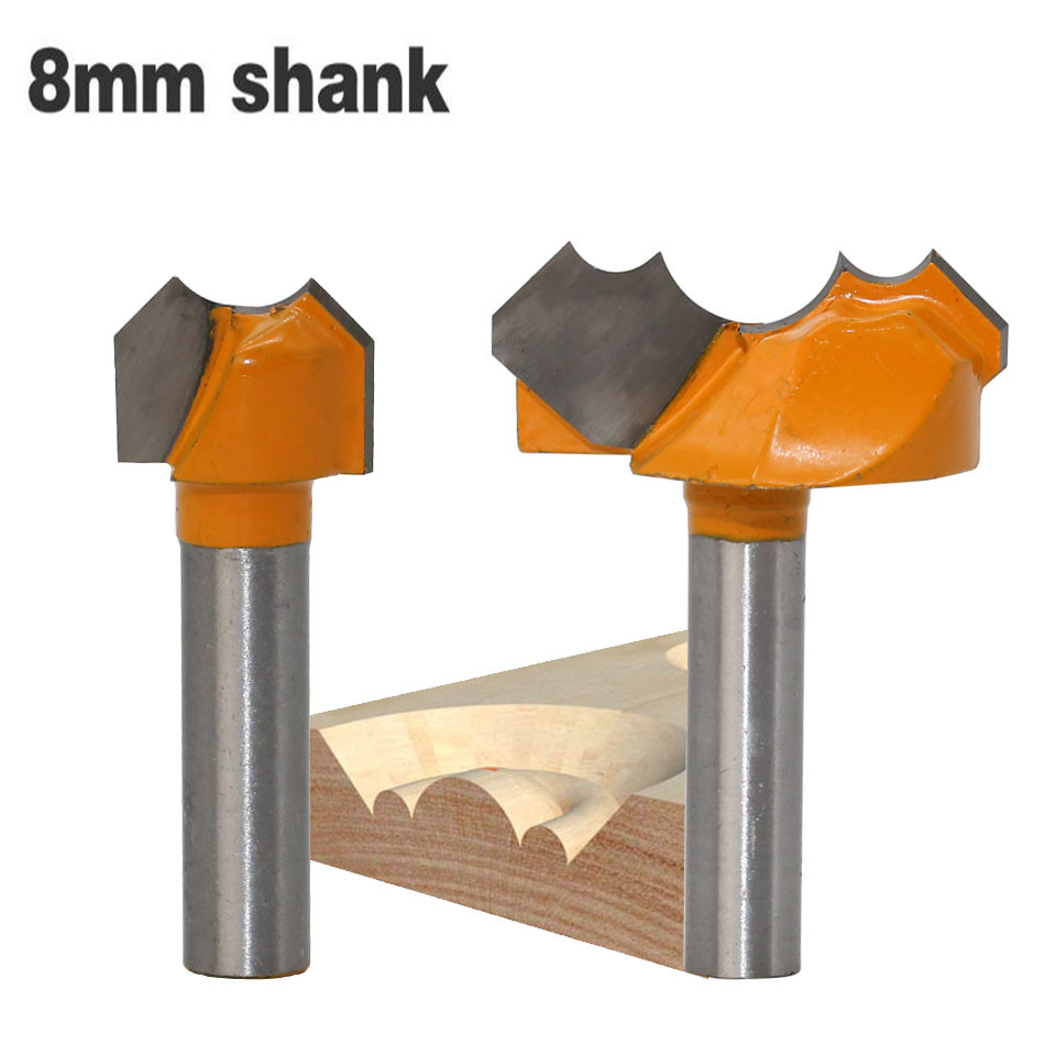 1Pcs 8mm Shank Double Finger Wood Router Bit Woodworking Carbide Milling Cutter