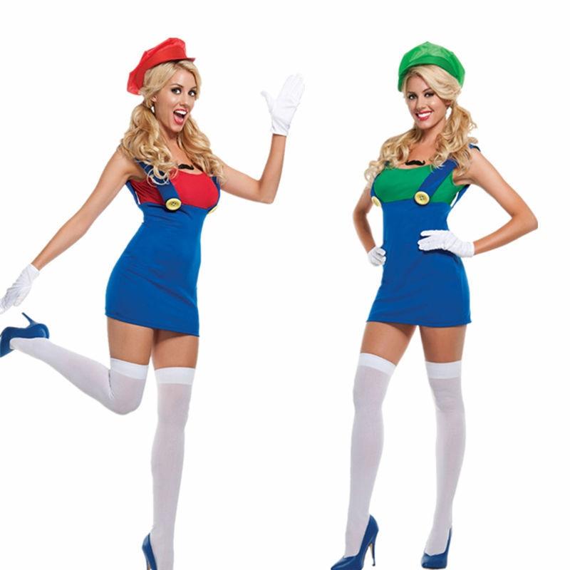 Adult Womens Super Mario Luigi Halloween Costume Plus Size M XL-in ...