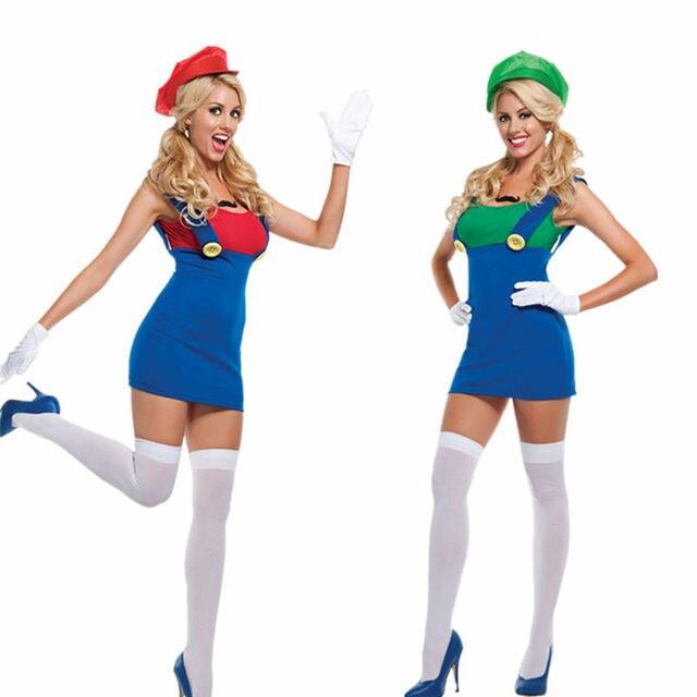 adult womens super mario luigi halloween costume plus size m xl