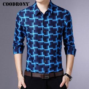Image 4 - Coodrony 긴 소매 셔츠 남성 비즈니스 캐주얼 셔츠 남성 의류 2019 가을 신착 격자 무늬 camisa masculina 플러스 사이즈 8738