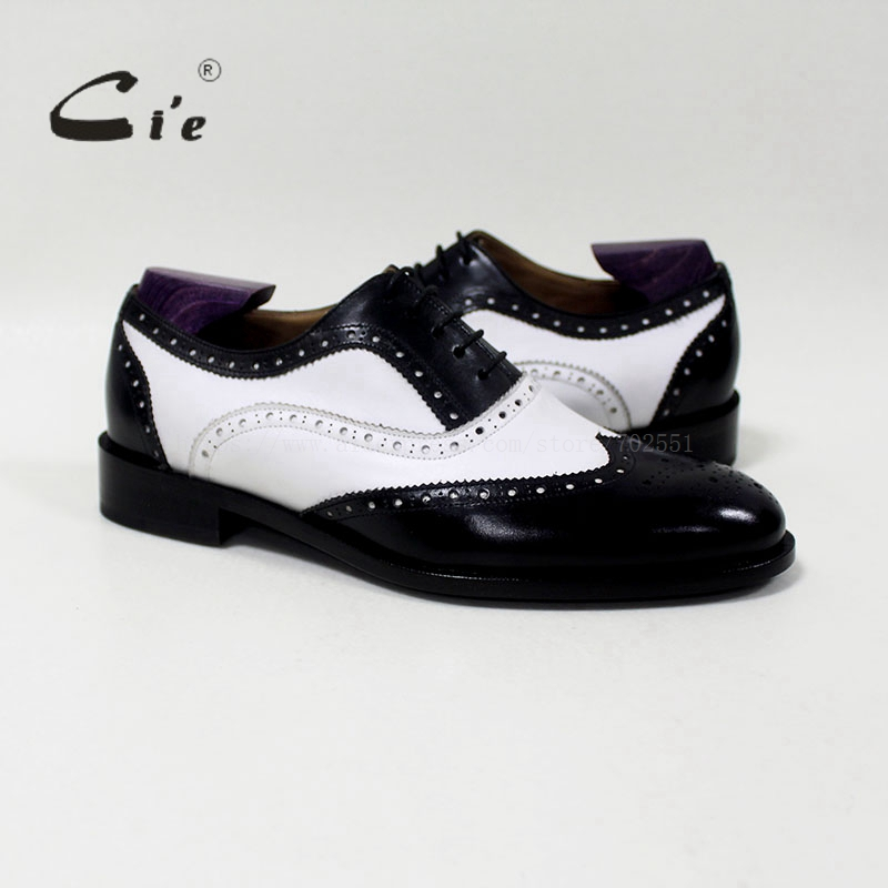 cie round toe mixed colors white and black custom handmade genuine calf leather men's oxford shoe blake/mackay craft OX-04-00 cie round toe wine black mixed colors patches shoe100