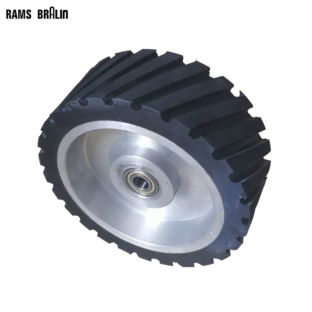 200*75mm Serrated Rubber Contact Wheel Dynamically Balanced Belt Sander Backstand Idler цена