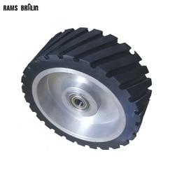 200*75mm Serrated Rubber Contact Wheel Dynamically Balanced Belt Sander Backstand Idler