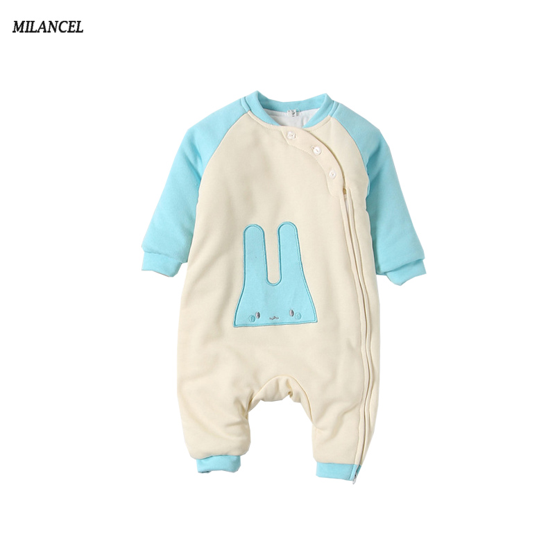 Milancel 2017 New Baby Rompers Winter Thicken Warm Baby Boys Girls Clothing Long Sleeve Jumpsuit Kids Newborn Outerwear 2017 baby boys girls long sleeve winter rompers thicken warm baby winter clothes roupa infantil boys girls outfits cc456 cgr1