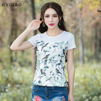 Mori Girls Summer Japanese Style Fresh O Neck Short Sleeve Bird Pattern T Shirt 2017 Ethnic