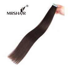"""Mrshair 2 # Ленты в расширениях 20 штук темный коричневый не Реми уток волос на клей Ленты волос прямой 16 """"-24"""""""