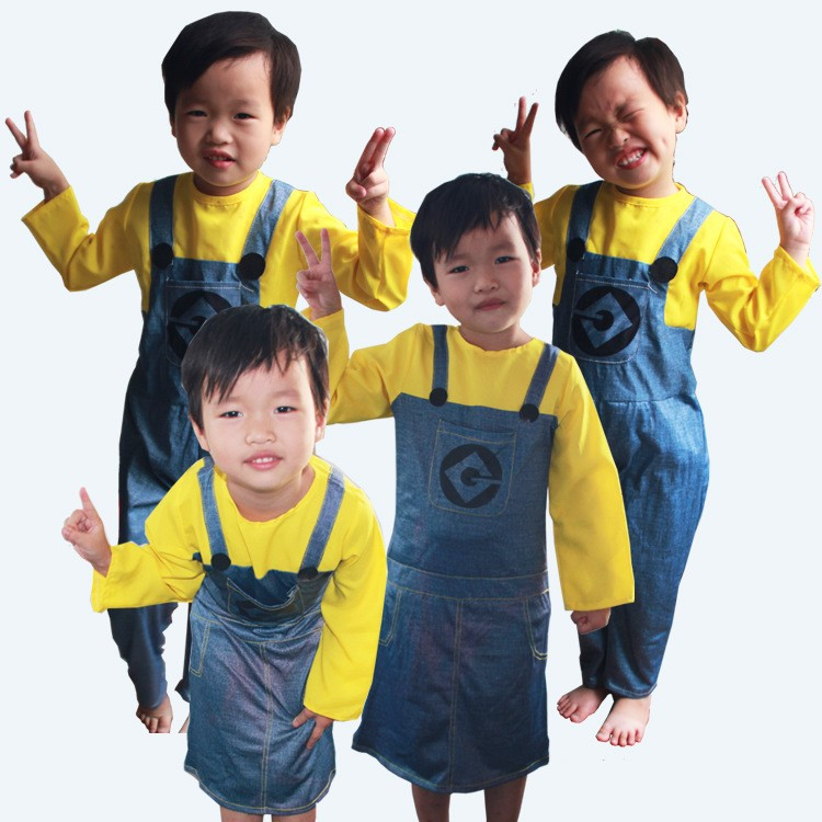 10pcs/lot Children's and Adult Minion Costume Halloween Anime Mini Cosplay Costumes Suits Boys/Girls Kids Party Clothes
