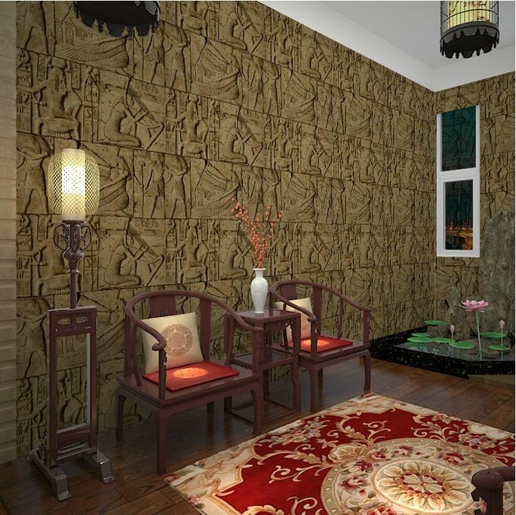 Vintage Imitation Carved Egyptian Pattern Chamber Exploded Wallpaper Realistic Character Art Film  3D Wall Wallpaper For Bedroom jaromir malek egyptian art