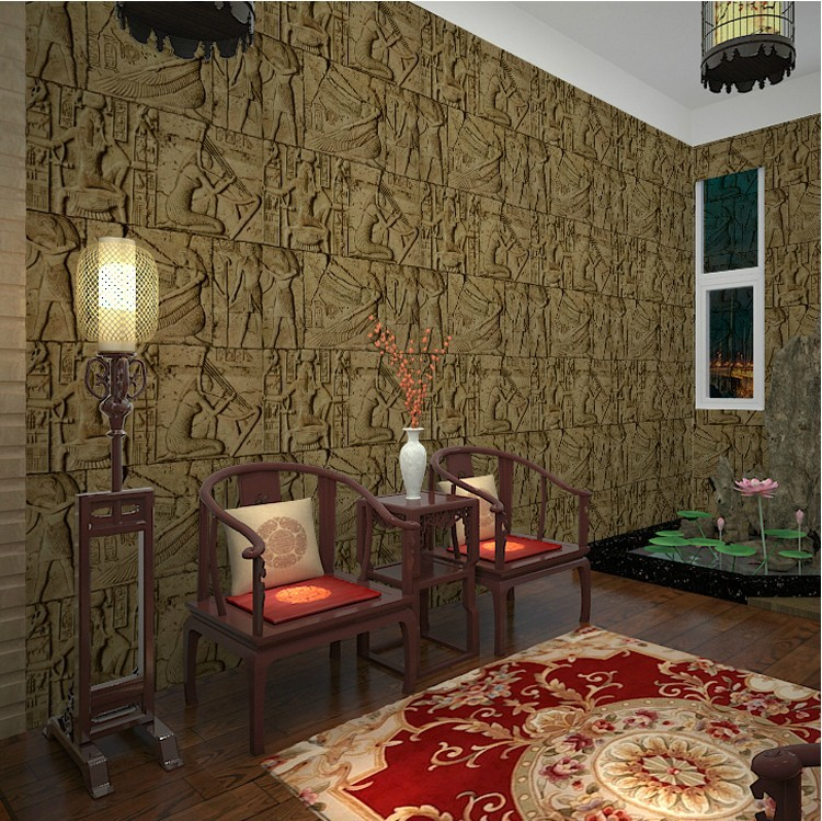 Vintage Imitation Carved <font><b>Egyptian</b></font> Pattern Chamber Exploded <font><b>Wallpaper</b></font> Realistic Character Art Film 3D Wall <font><b>Wallpaper</b></font> For Bedroom image