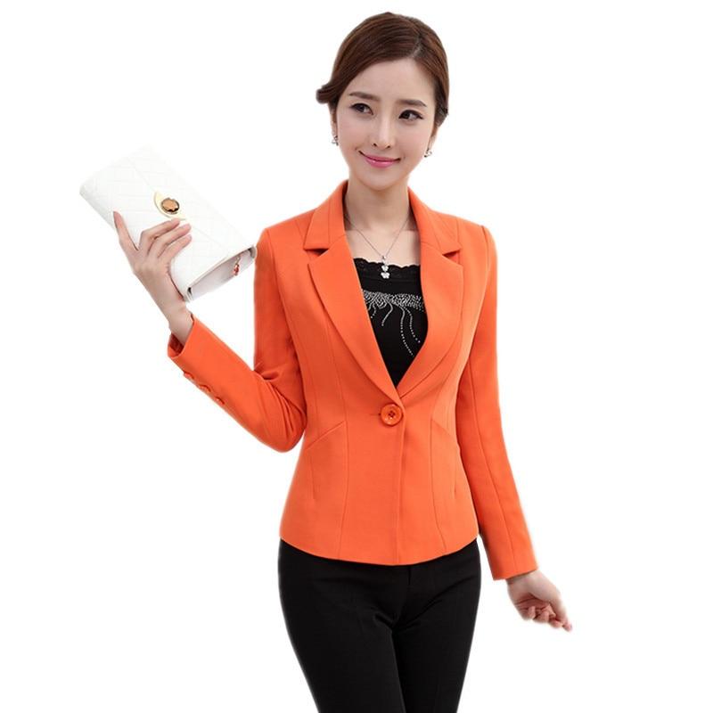 Feminino Vestes Plus orange Nouvelle Blazer Manteau Taille Bureau Automne Mince Black Occasionnel Solide De C194 La Femmes Noir Orange 2017 Printemps Mode OXwk8n0P