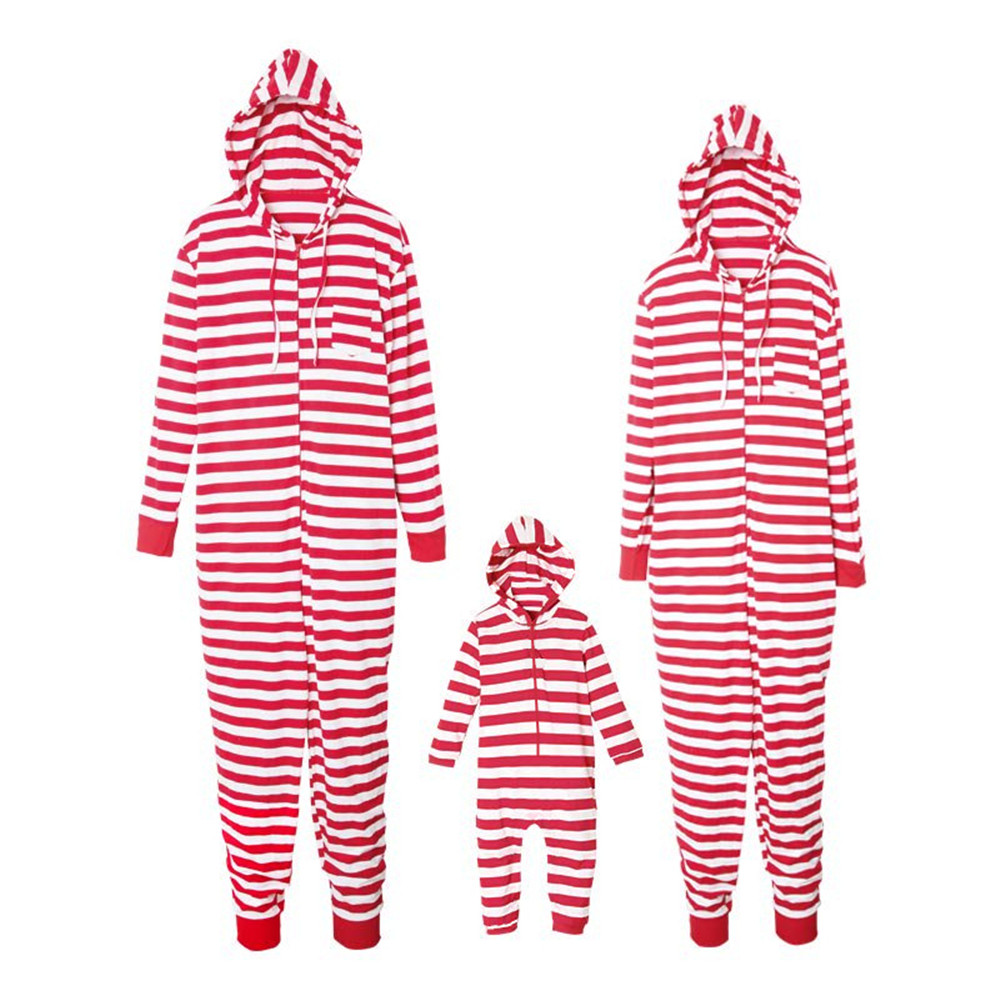 Cosplay Christmas red striped Santa Pajamas family clothing parent-child wear adult children hooded one-piece Jumpsuits pajamas