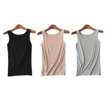 3pc/lot womens top Lady Modal sleeveless O-neck woman tshirt  all match Basic t-shirt black gray white color