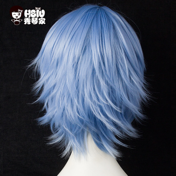HSIU 30cm short Wig Black white purple blue red  high temperature fiber Synthetic Wigs Costume Party Cosplay Wig  multi 17color 4