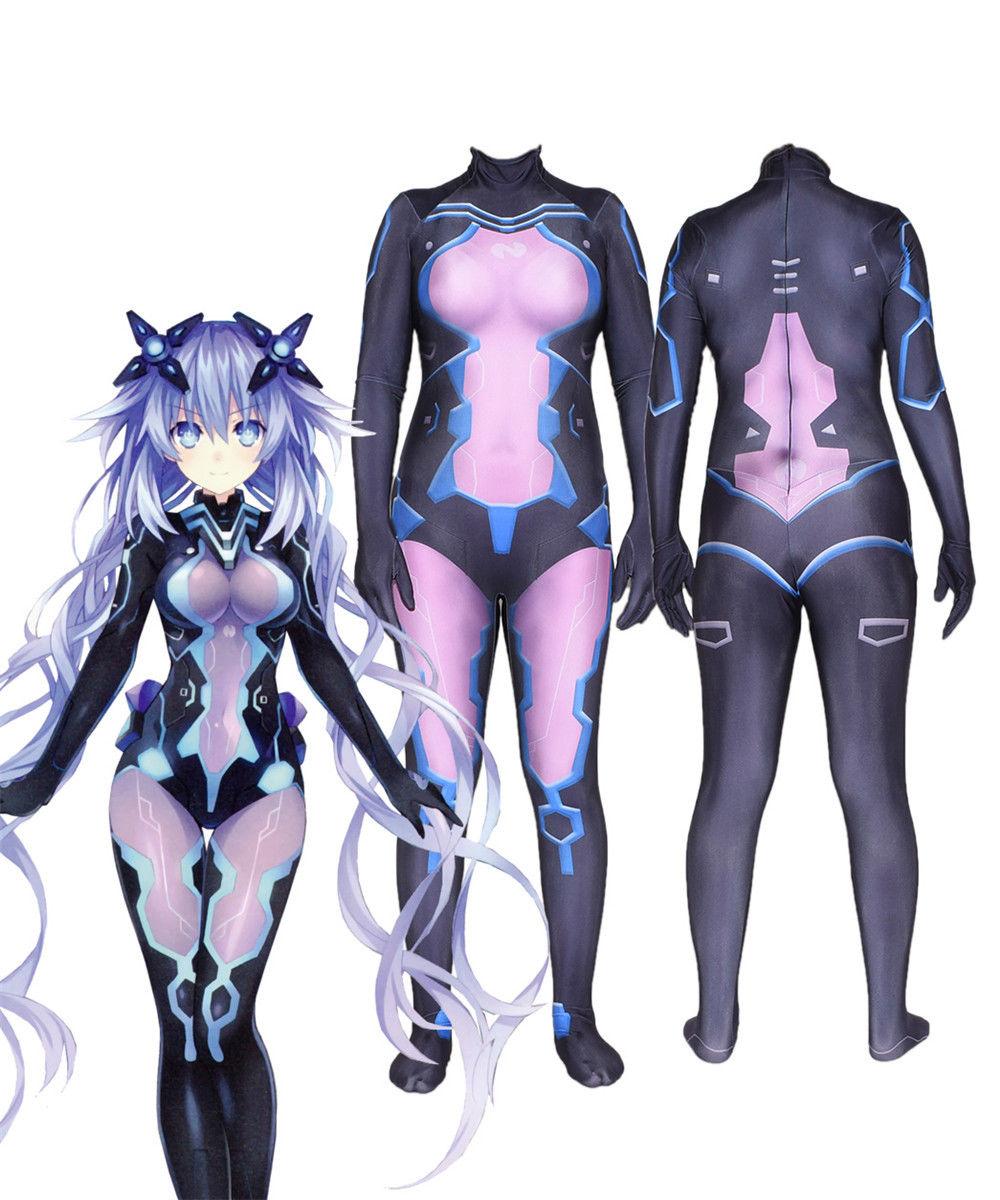 Halloween Hyperdimension Neptunia Cosplay Suit Anime Purple Heart Zentai Bodysuit   Jumpsuit