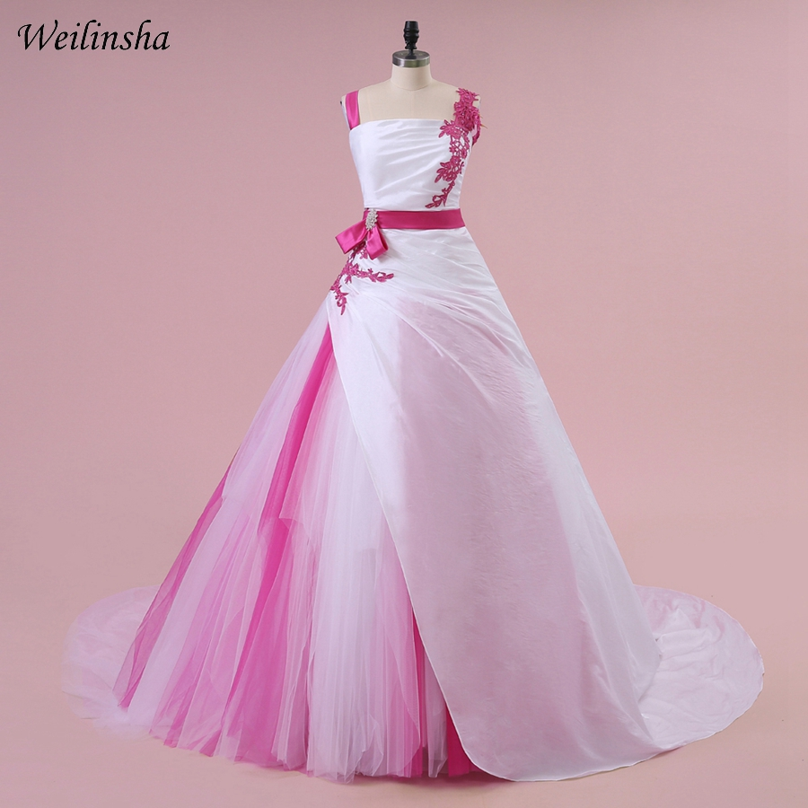 505145a6409 Weilinsha New Arrival Contrast Color Wedding Dresses Real Photo Ball Gown  Vestido de Noiva Brides Gowns