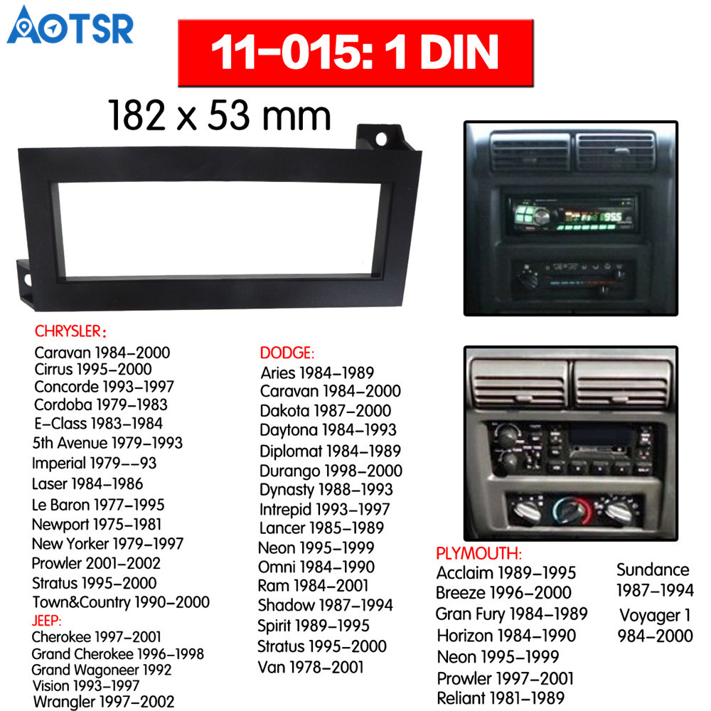 1 din Radio Fascia for CHRYSLER for DODGE for JEEP for PLYMOUTH Installation Dash Frame Adapter car DVD player ABS CD place mp3 image