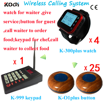 Wireless Calling System Transmitter Keypad for Kitchen Bar Chef Cooker ; Watch Pager For Waiter ; Table Button For Guest
