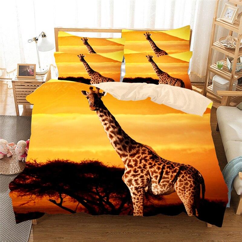 Girafe Bleu Imprime Home Textile 3 4 Pcs Literie Ensemble Lit