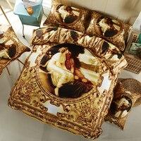 Svetanya occidental pintura al óleo ropa de Cama ropa de cama de oro 3D del lecho de la reina tamaño Completo duvet fija 100% Algodón