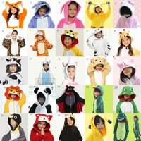 Gratis Verzending jongens meisjes Kinderen Kid Unisex Pyjama Cosplay Kostuum Dier tijger/kangoeroe/pikachu/panda/stitch/Onesie Nachtkleding