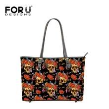 FOURDESIGNS Women Shoulder Bags Big Capacity PU Leather Handbags Skull Head Printing Top-handle Bags Ladies Portable Totes Bags
