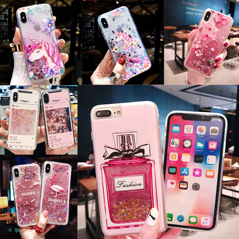 Liquid Case For Huawei P8 P9 P10 P20 Lite Pro Y9 Y6 Y5 2018 Nova 3 2 Plus 2i Cartoon Flamingo Perfume Bottle Soft Silicone Cover