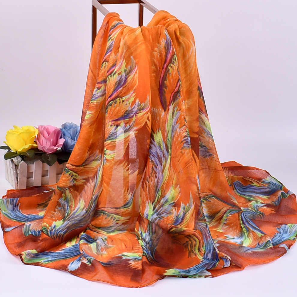 Verano de las mujeres bufanda cinco estrellas calidad suave pañuelos de seda mujer chales Foulard playa cubierta ups secreto huellas bandana damas pareo