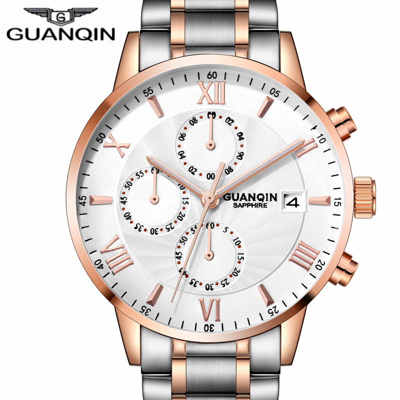 relogio masculino New GUANQIN Mens Watches Top Brand Luxury Chronograph Clock Men Business Casual Stainless Steel Quartz Watch luxury watch men wwoor top brand stainless steel analog quartz watch casual famous brand mens watches clock relogio masculino