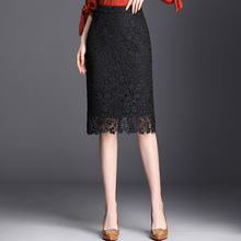 Spring Summer 2019 Woman High Waist Lace Pencil Skirt Korean Style Black Slim Fit Bodycon Midi Skirt Elegant Office Lady Skirt цена и фото