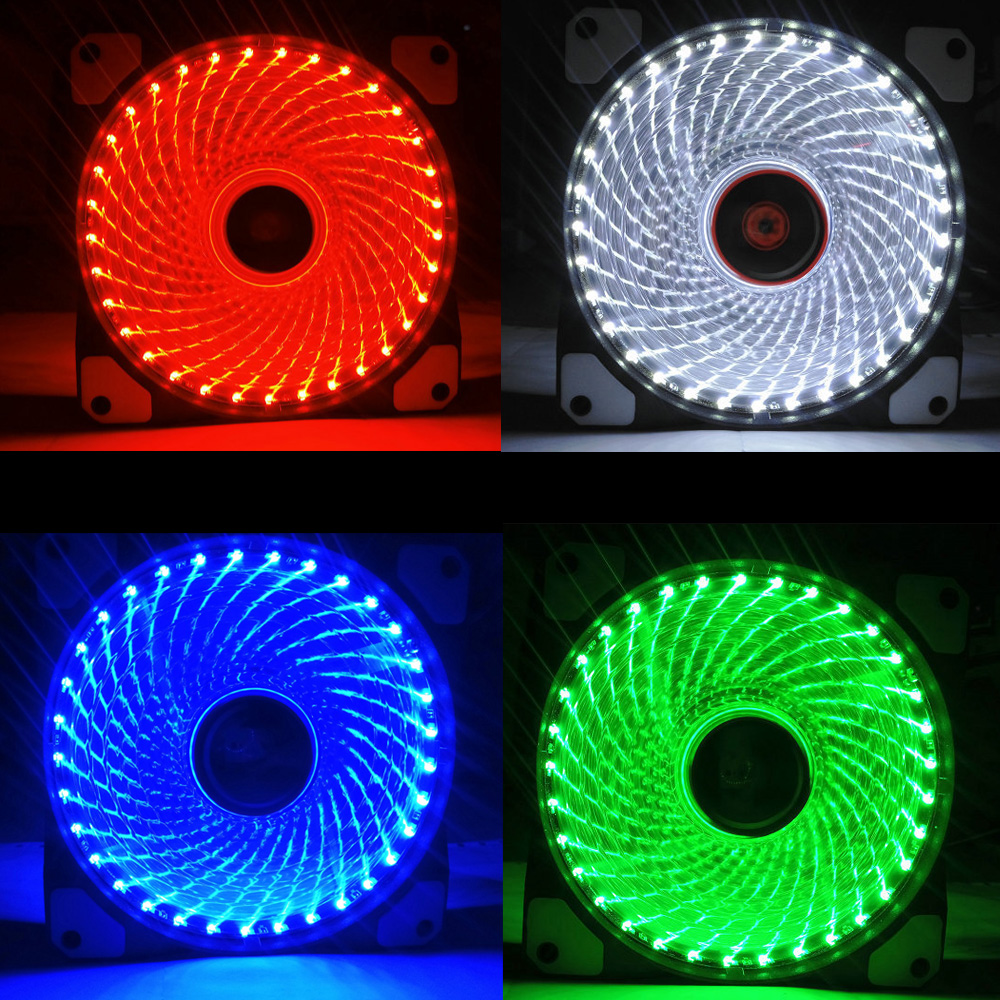 Ultra <font><b>Silent</b></font> 33 LEDs <font><b>Cooling</b></font> <font><b>Fan</b></font> <font><b>120mm</b></font> PC Computer Case <font><b>Fan</b></font> Heatsink Cooler 16dB with Anti-Vibration Rubber <font><b>FAN</b></font> High Quality image