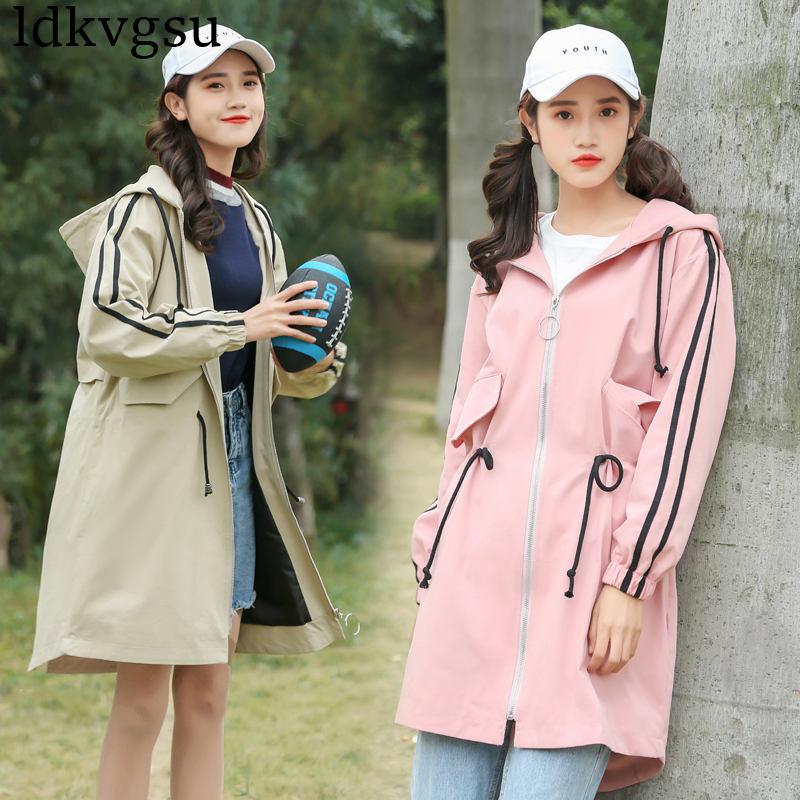 2019 New Women Spring Autumn Long   Trench   Coats Korean Loose Waist Was Thin fashion Hooded Chic Windbreaker Coat For Girls V323