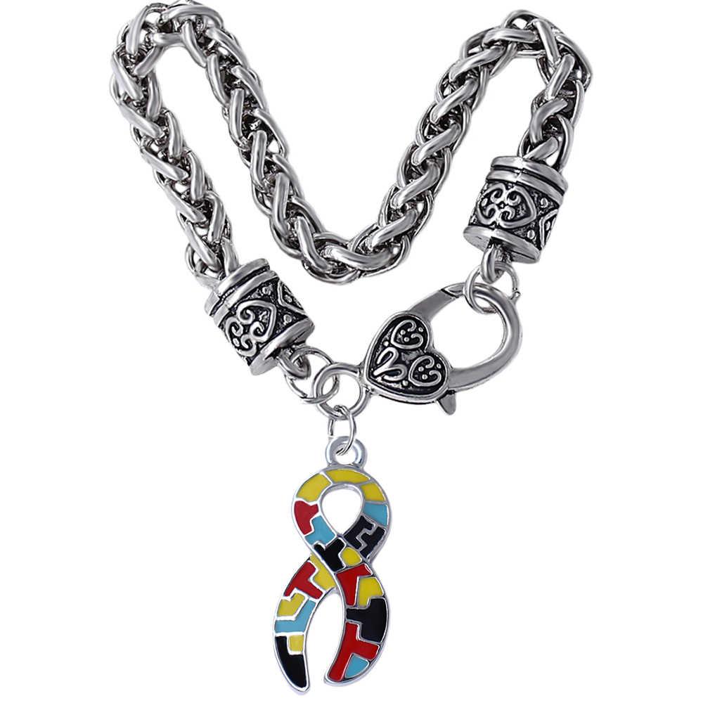 Горячая мода эмаль металл Аутизм Головоломки Подвеска для ордена браслет подходит для аутистического рака пациента подарок ювелирные изделия браслет