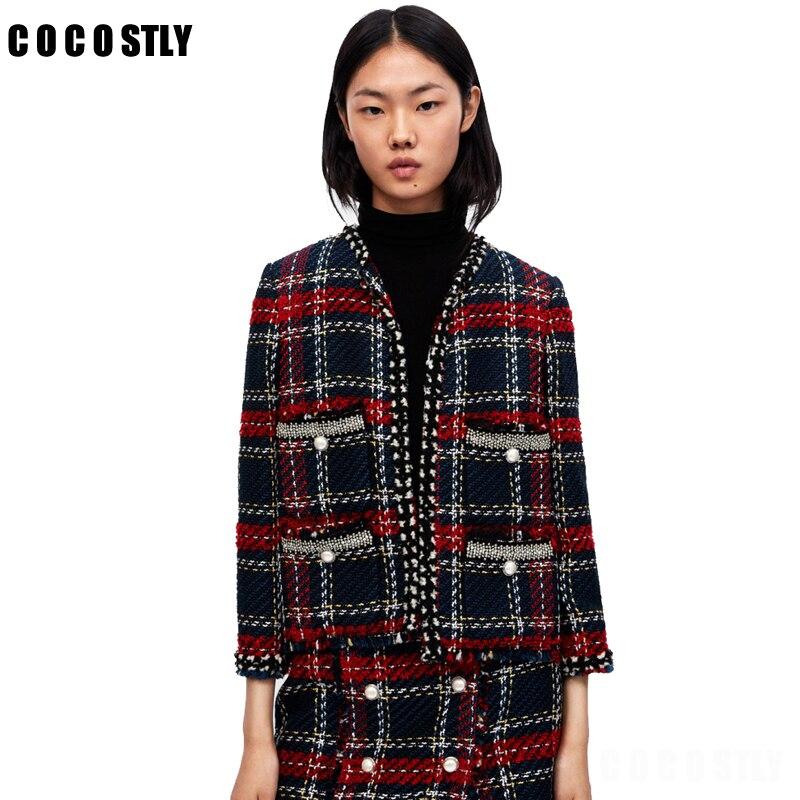 Осенняя твидовая куртка женская с круглым вырезом твидовое пальто кнопки тонкая элегантная женская твидовая куртка Casaco женский топ