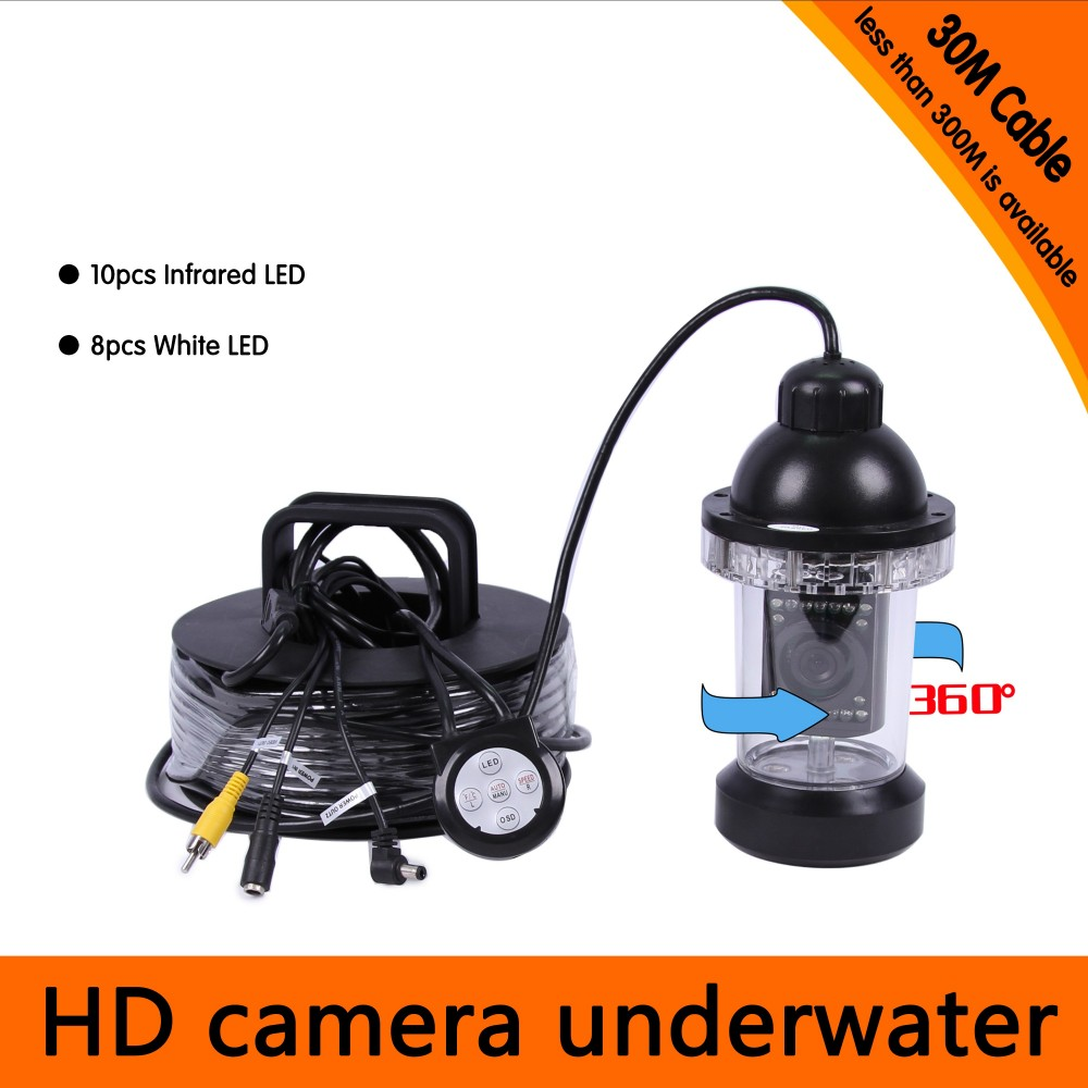 30Meters Depth 360 Degree Rotative Underwater Camera with 18pcs of White or IR LED for Fish