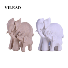VILEAD 6.7 Nature Sandstone Elephant Mother & Son Statue White Figurines Miniatures Animal Vintage Home Decor Creative Gifts