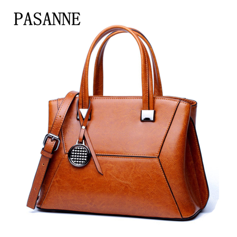 2017 New Women Bag PASANNE Vintage Fashion Female Leather Shoulder Bags Brand Genuine Leather Handbag Women Handbags 2017 new female genuine leather handbags first layer of cowhide fashion simple women shoulder messenger bags bucket bags