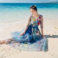 Women Long Maxi Dress 2016 New Summer Fashion Vintage Flower Embroidery Beach Dresses Voile Holiday Party