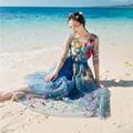 Mujeres Largo Del Vestido Maxi 2017 Nueva Primavera Verano Moda Vintage Bordado de La Flor de la Playa Vestido de Gasa Vestidos de Fiesta Vestidos