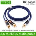 HIFI Стерео AV 3 5 мм до 2 RCA аудио кабель для ноутбука компьютера MP3 ТВ сабвуфер усилитель динамик автомобильный динамик аудио кабель